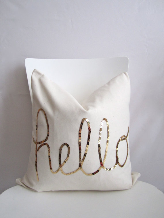 Hello Pillow Etsy